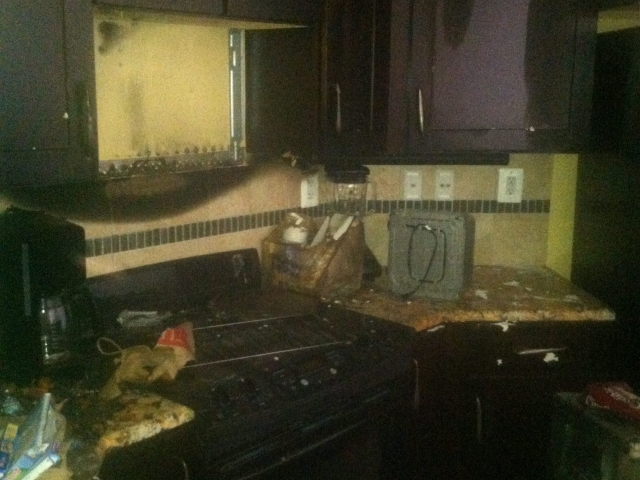 Fire Damaged Kitchen BEFORE, insurance repair contractor